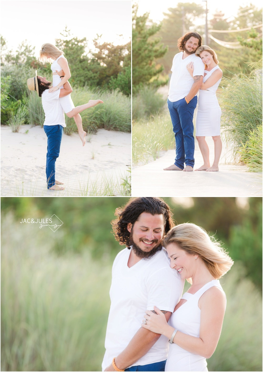 fun couple photos on the beach in Loveladies LBI