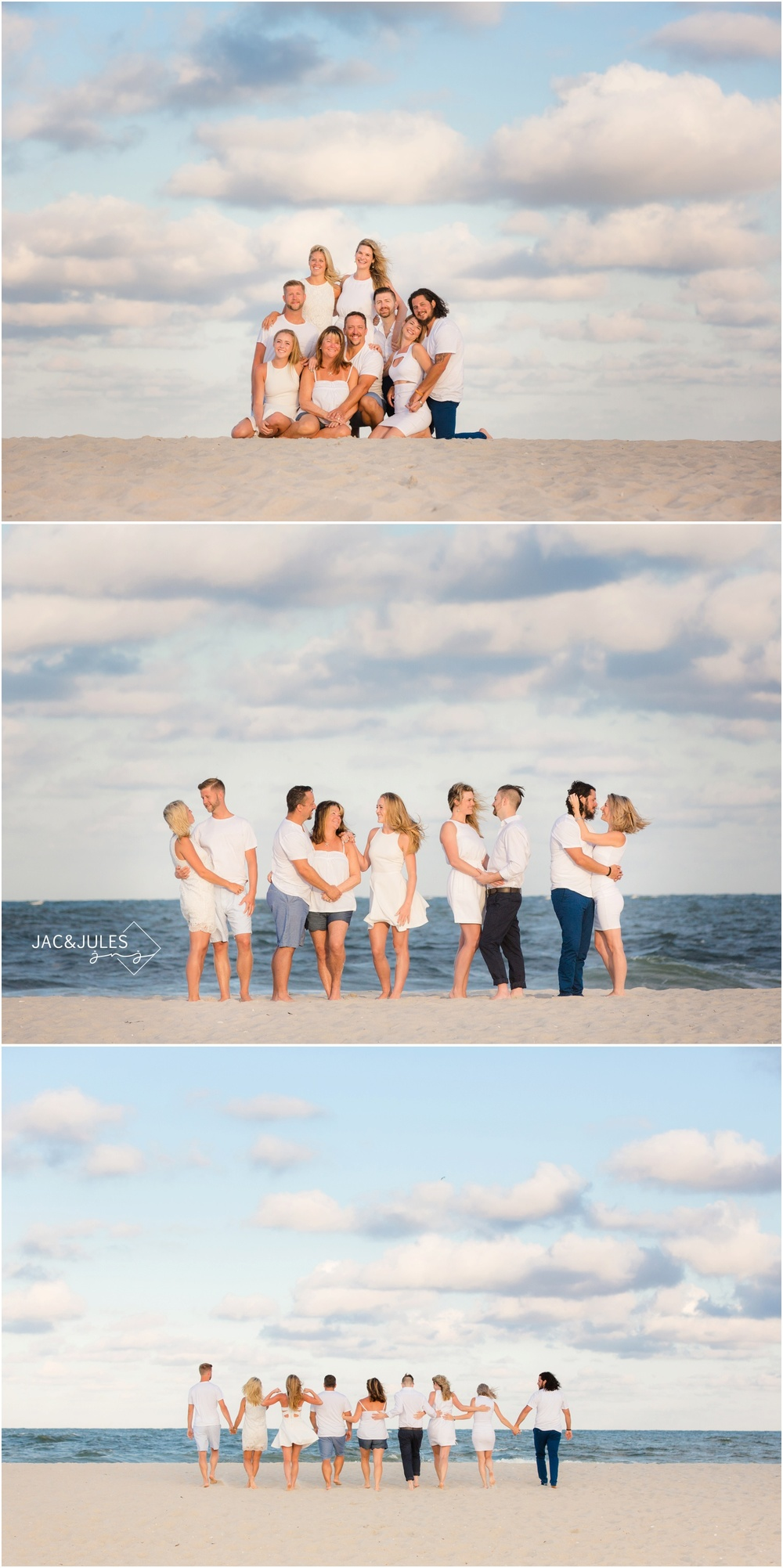 fun extended family beach photos in Long Beach Island, NJ