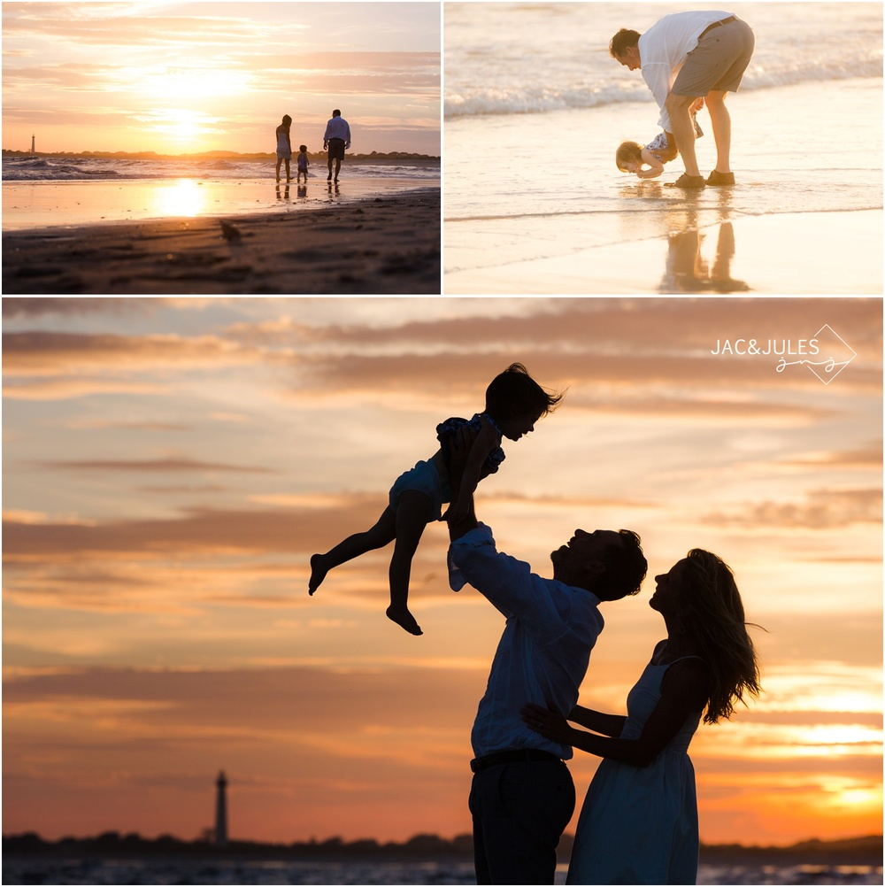silhouette photos of family on the beach in cape may, nj