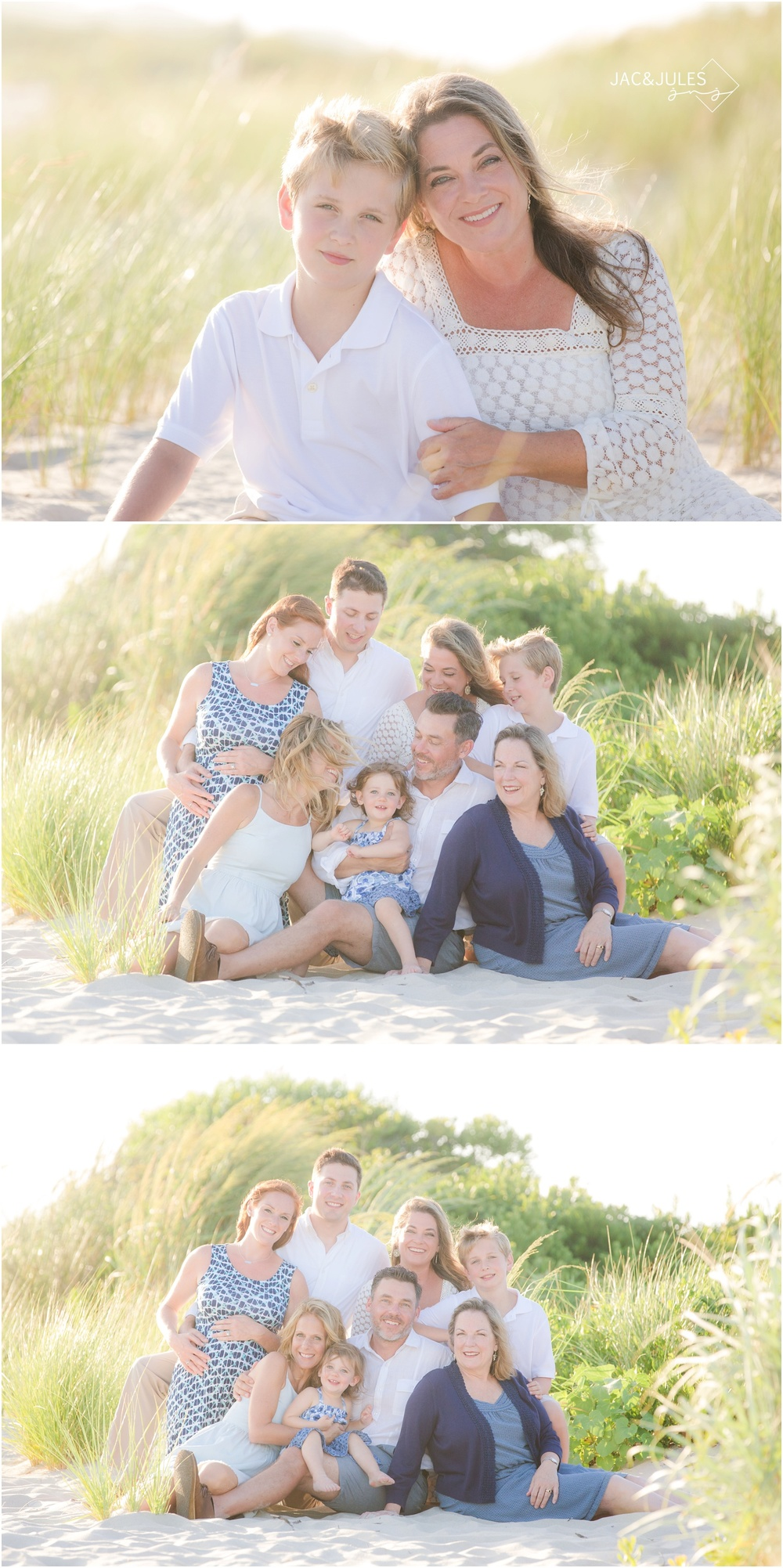extended family beach photos at cape may light house
