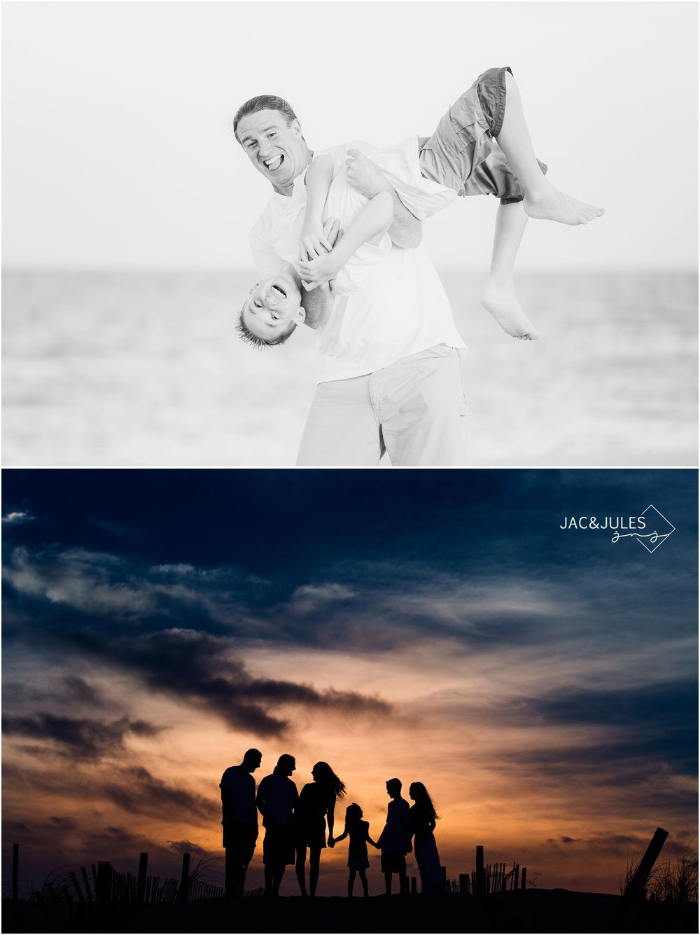 Fun Family Photos in Island Beach State Park at sunset