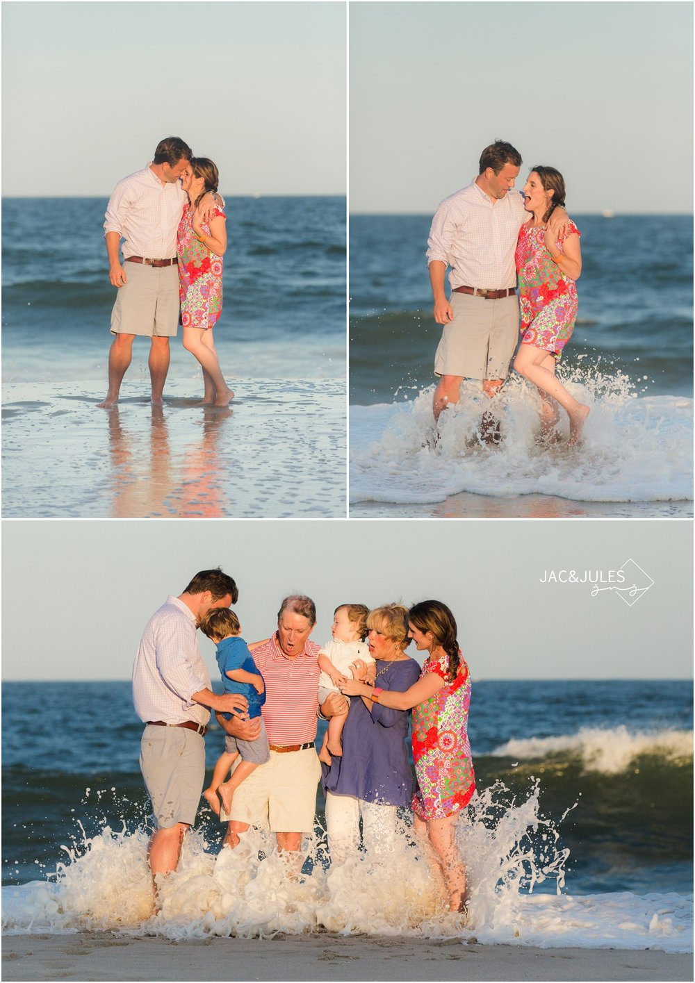 family beach photo with crashing wave
