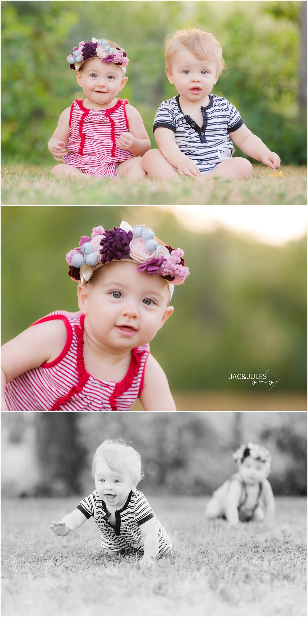 twin first birthday photos in Spring Lake NJ