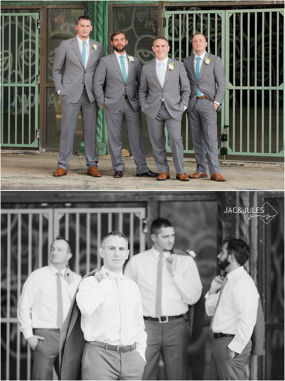 jacnjules photographs groomsman in gray suits in Asbury Park, NJ