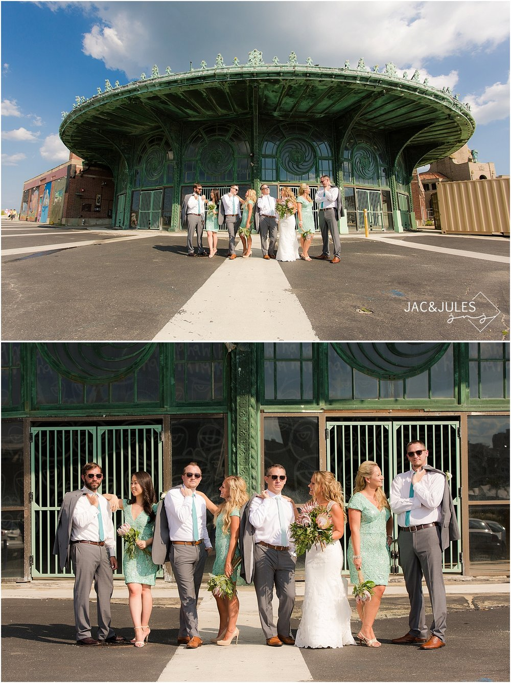 jacnjules photographs fun bridal party in Asbury Park, NJ