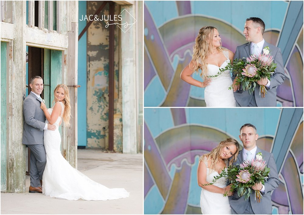 jacnjules photographs gorgeous bride and groom in Asbury Park, NJ