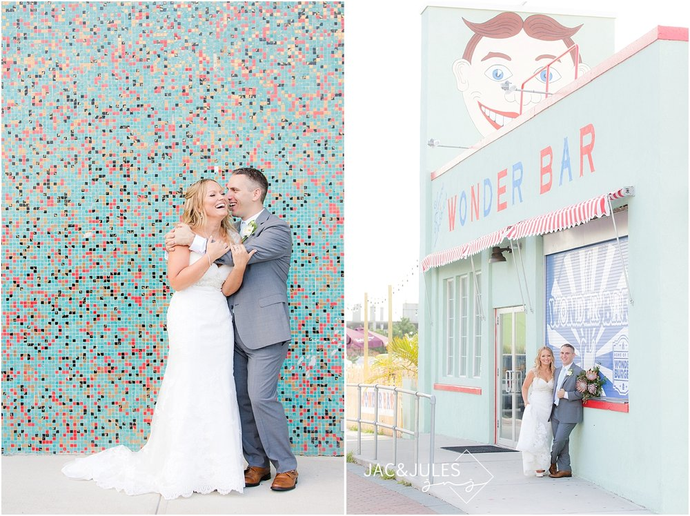 jacnjules photographs gorgeous bride and groom at Wonder Bar in Asbury Park, NJ
