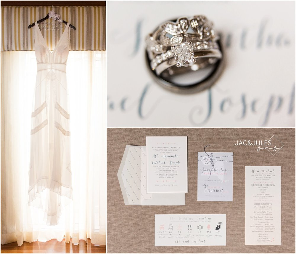 long island wedding bridal gown, stationery and wedding rings