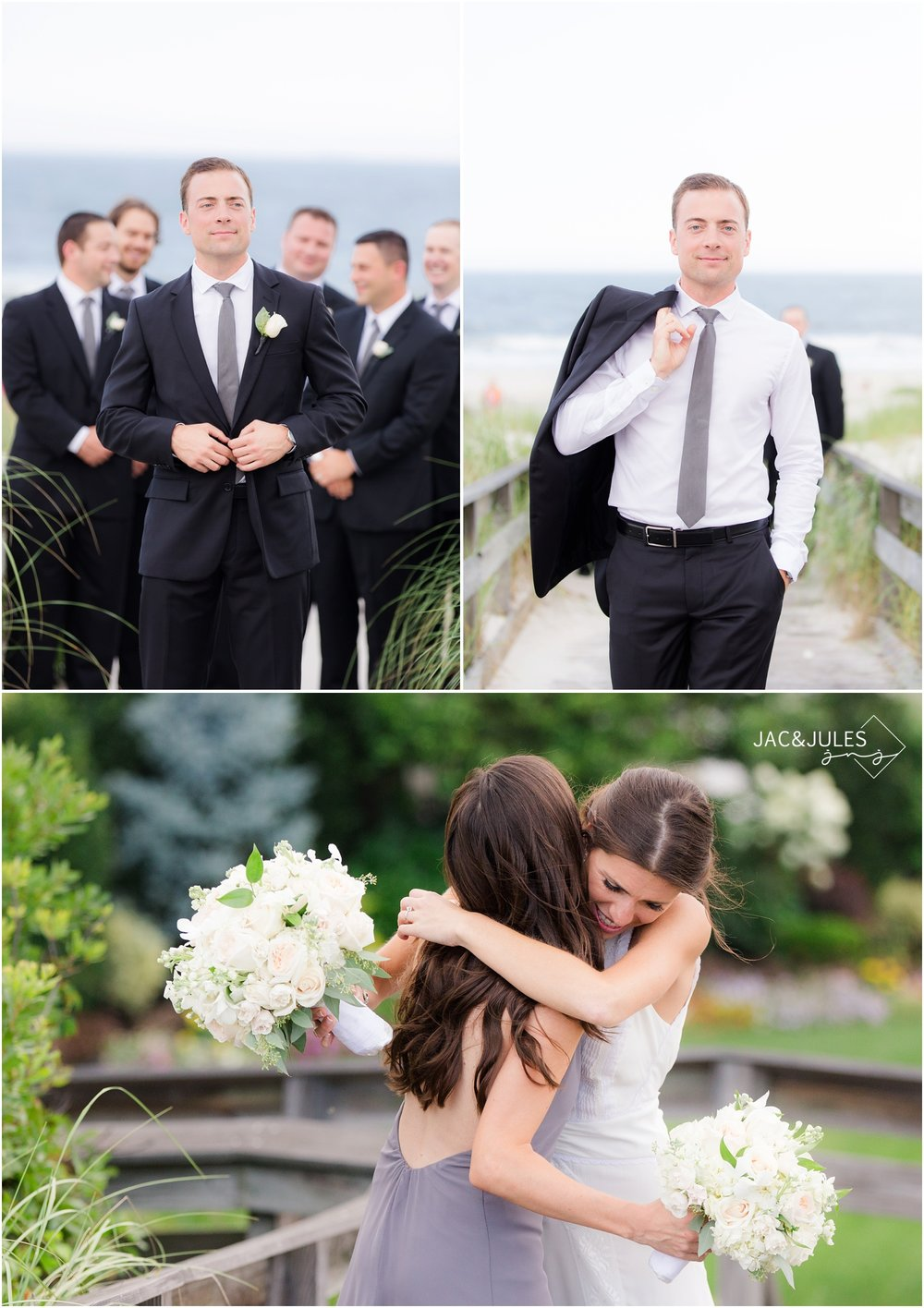 bridesmaids and groomsmen on the beach in Long Island