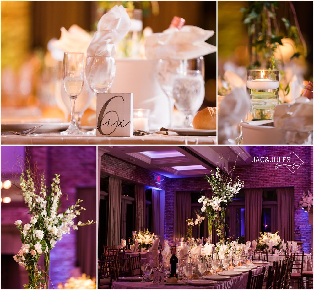Wedding reception room decor at Fox Hollow in Woodbury, NY