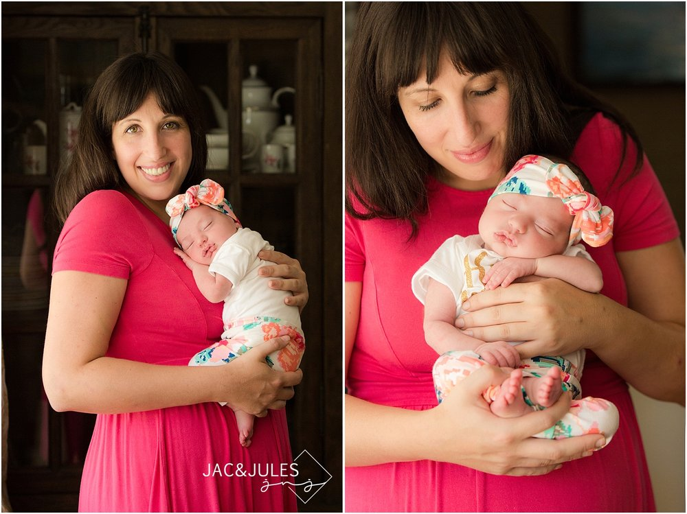 jacnjules photographs Mom and her newborn baby girl in their home in Middletown, NJ