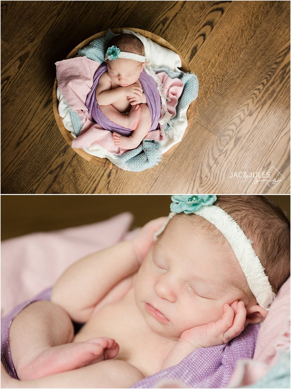 jacnjules photograph a newborn baby girl in a bucket in Toms River, NJ