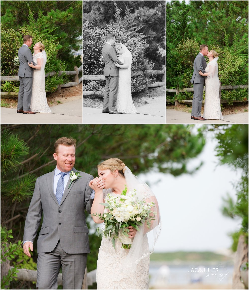 Bride and Groom first look at barnegat light house in LBI
