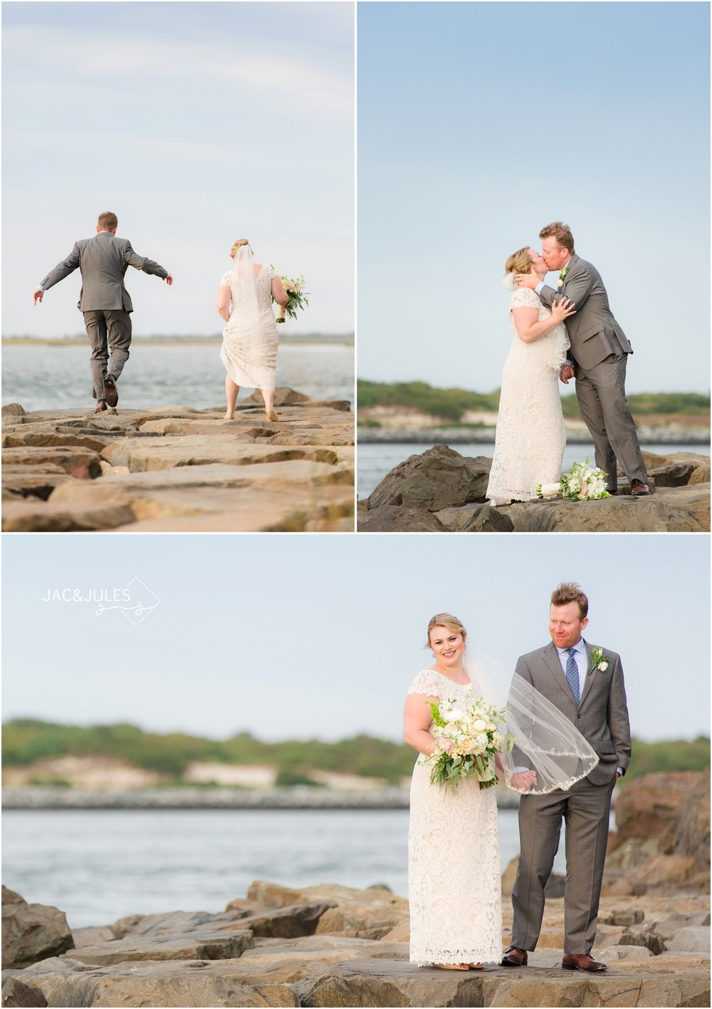 bride and groom photos on rocks at barnegat lighthouse in Long Beach Island, NJ