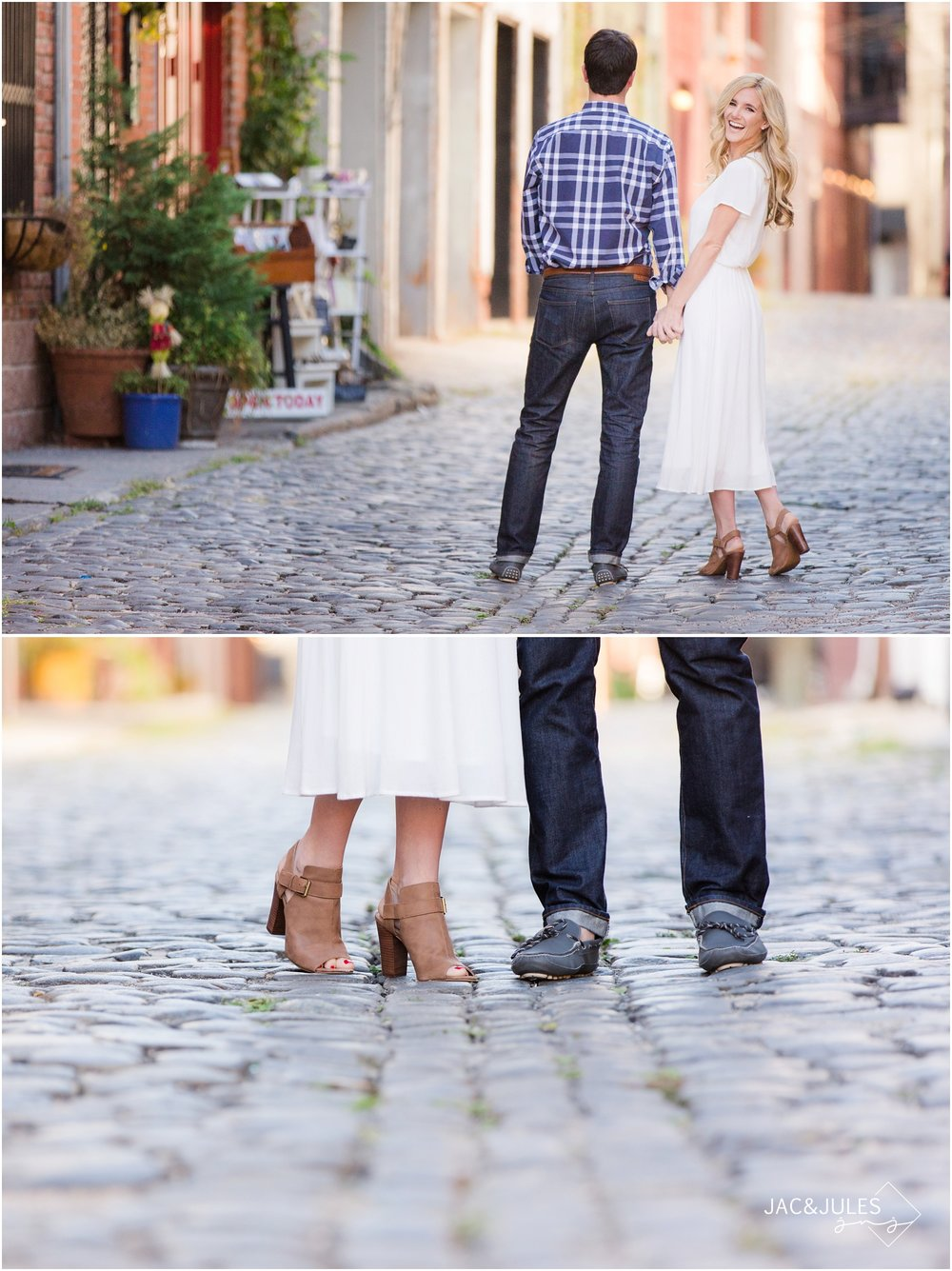 relaxed engagement photos on cobblestone street in hoboken, nj.