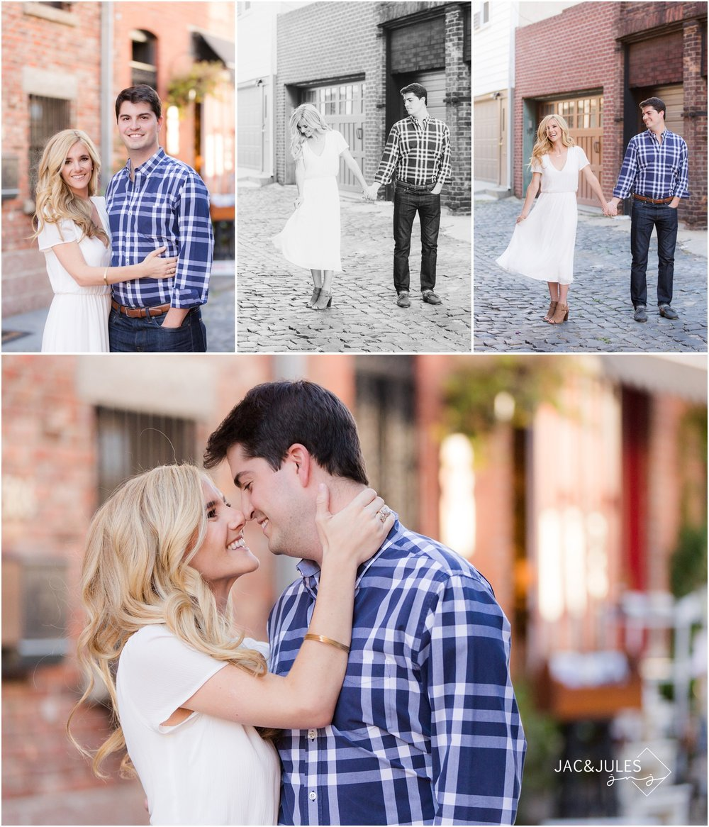 fun engagement photos on cobblestone street in hoboken, nj.