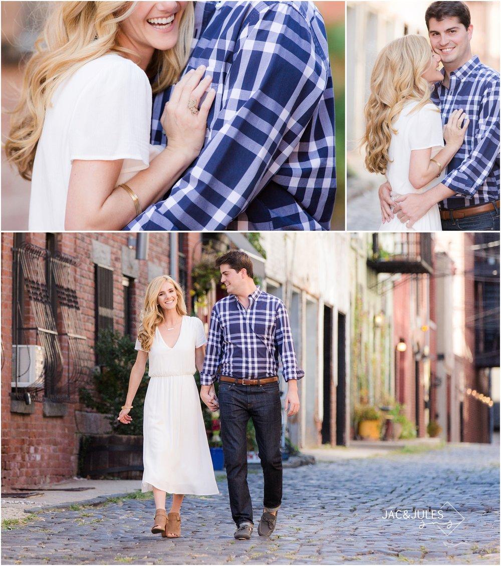 engagement photos on cobblestone street in hoboken, nj.