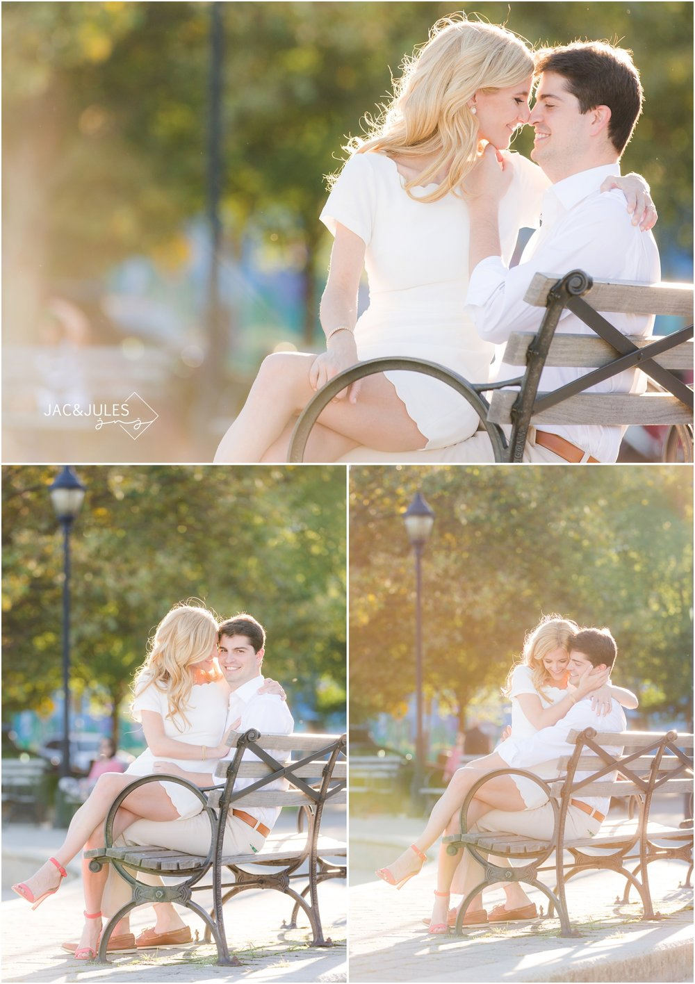 sunny engagement photos on a bench in hoboken, nj.