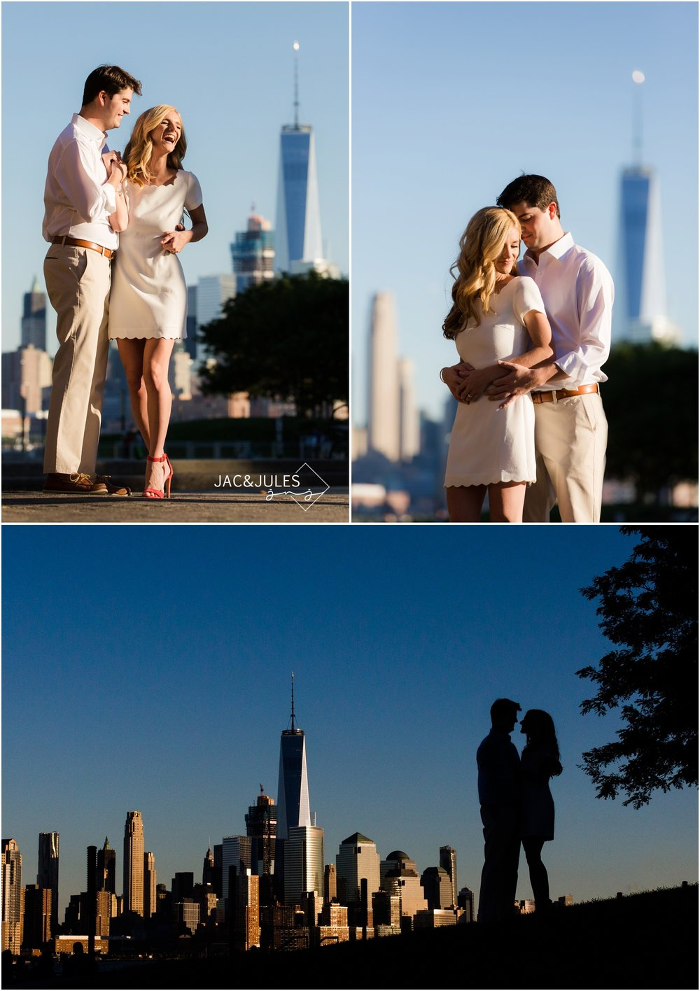 sunny engagement photos with New York city skyline in hoboken, nj.
