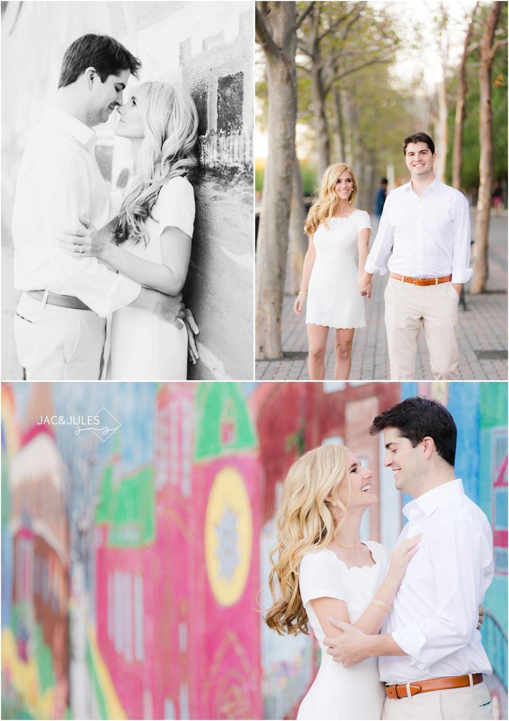 sunny engagement photos against graffiti wall in hoboken, nj.