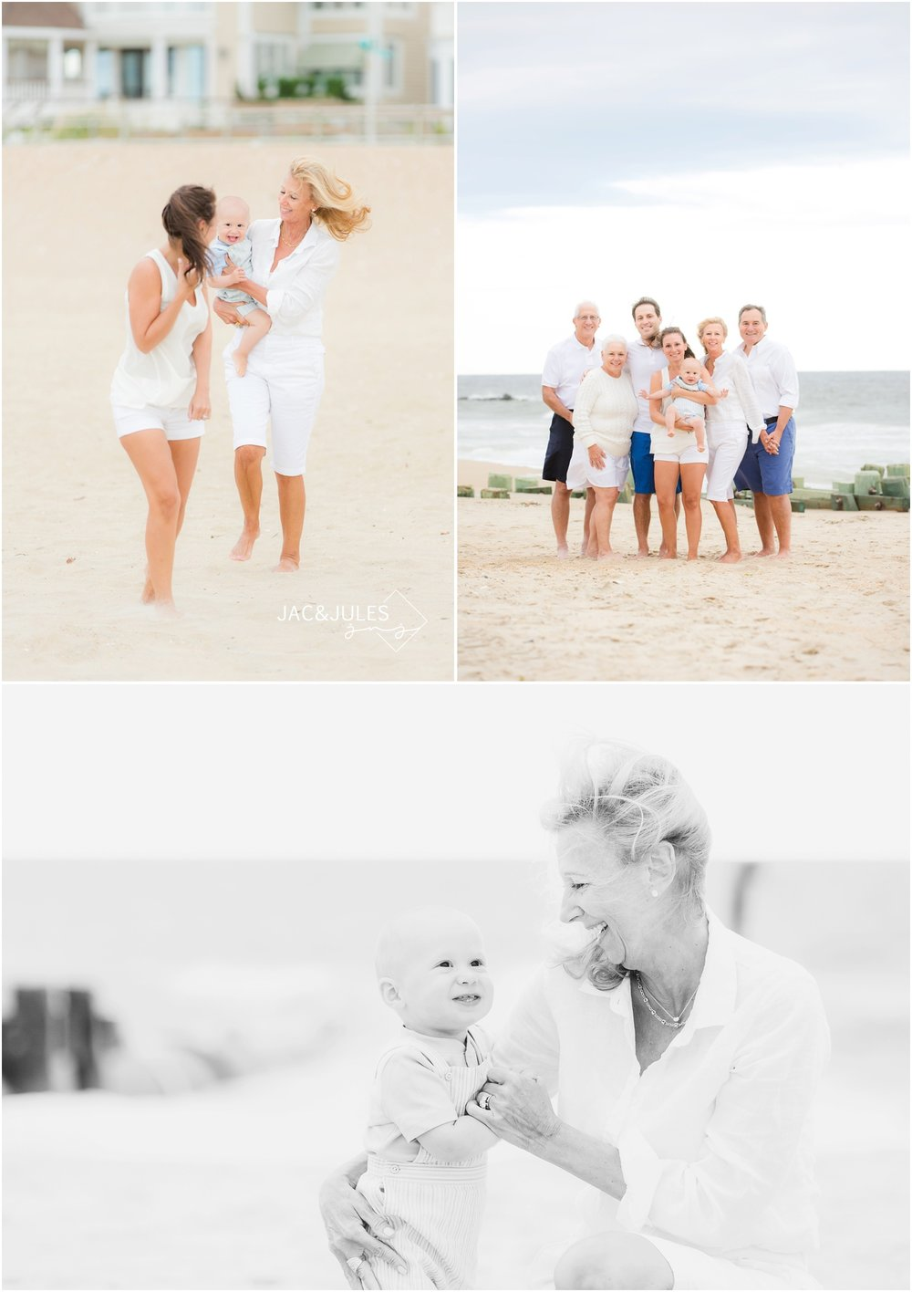 Family photos with grandparents on the beach in Sea Girt, NJ.