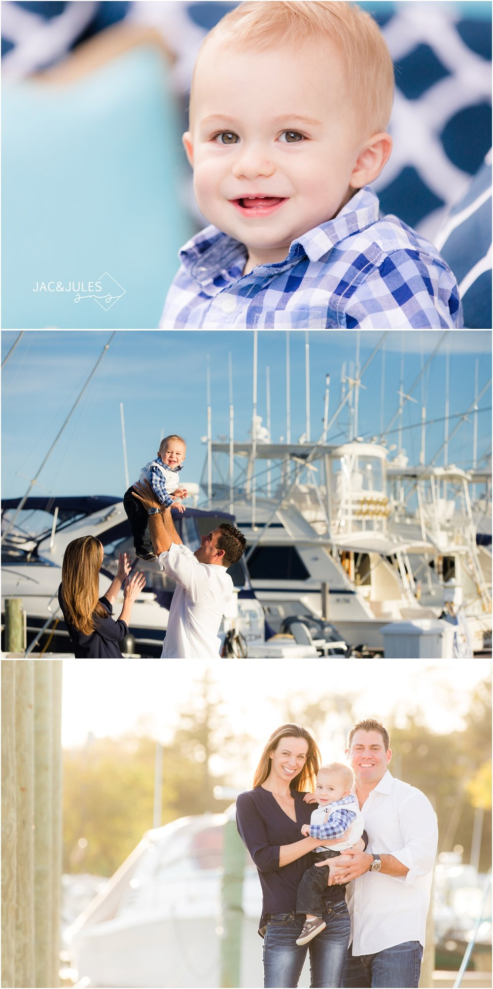 first birthday and family photos at marina in Brielle, NJ