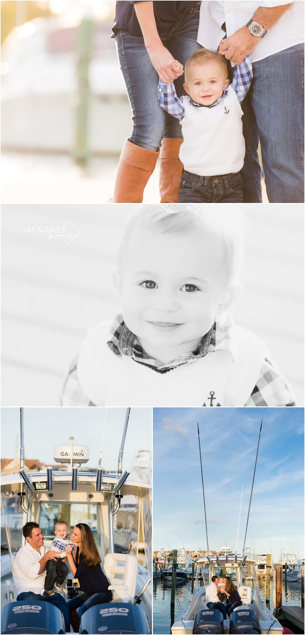 first birthday and family photos on the dock in Brielle, NJ