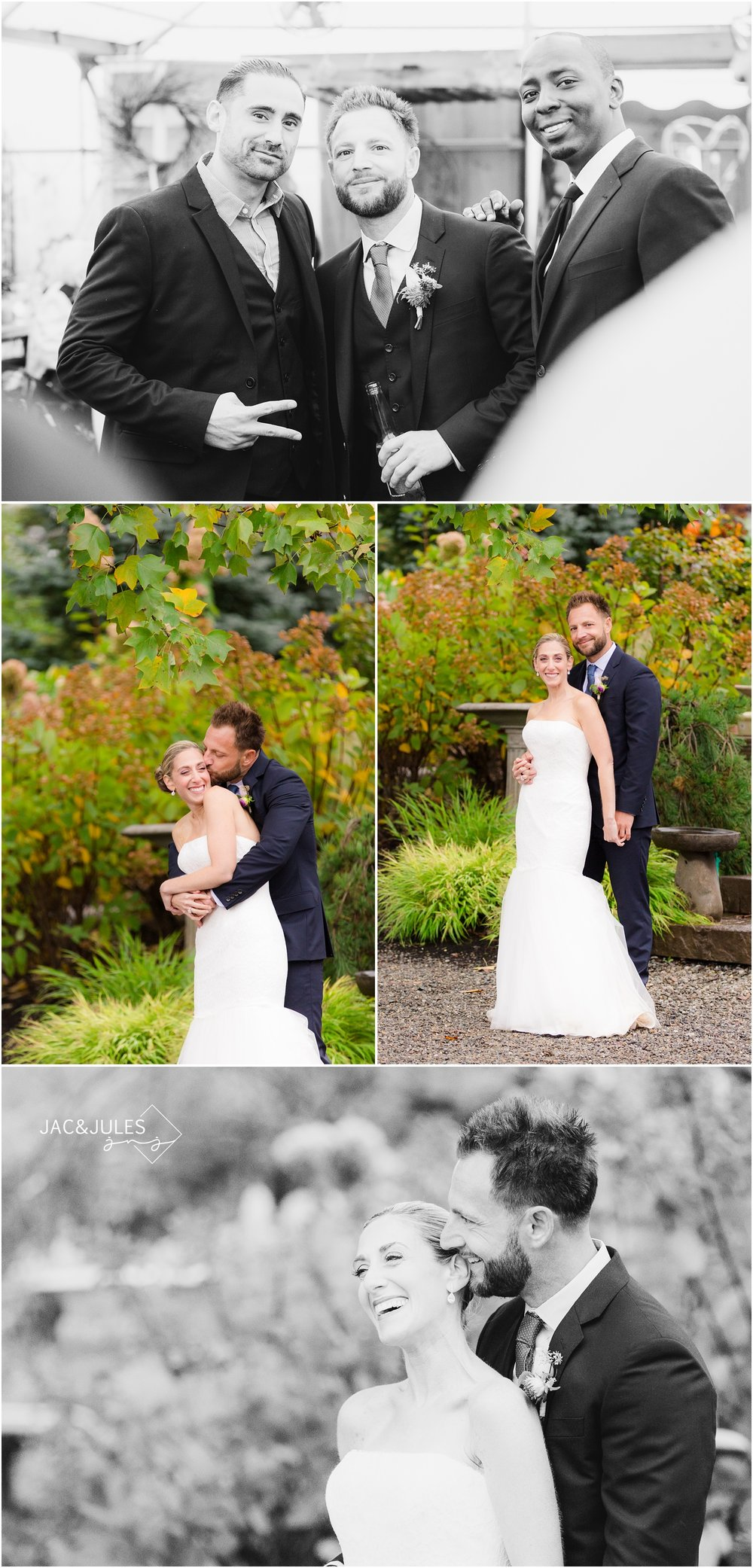 bride and groom photos at cargo gardens in freehold, nj.