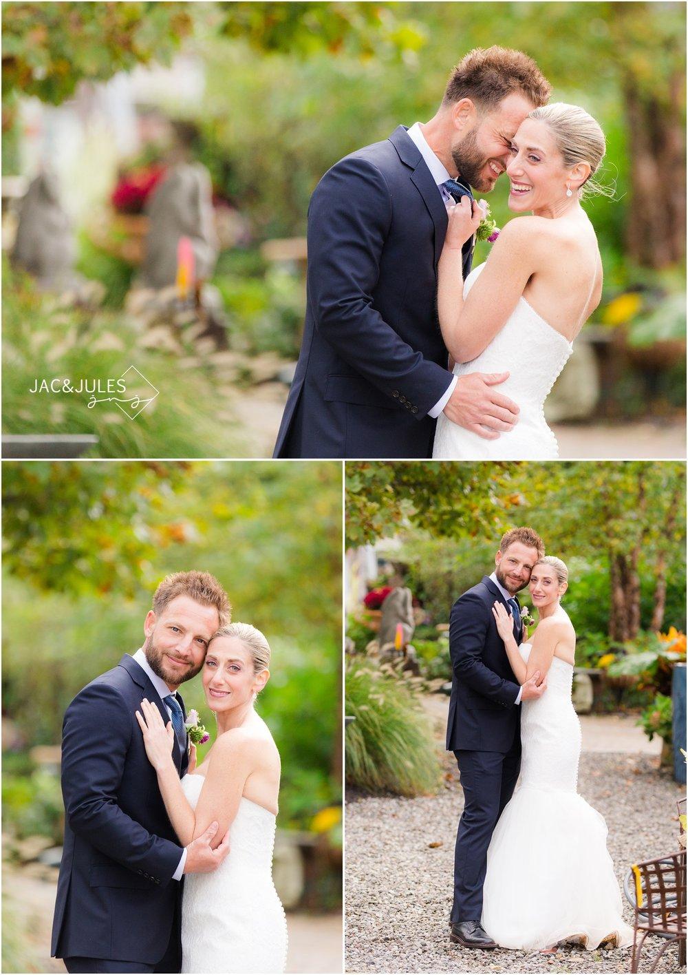 intimate garden wedding portraits of bride and groom.