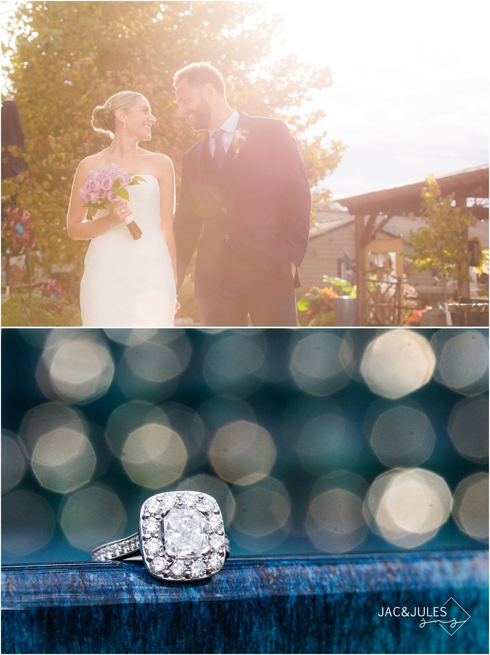 sunny garden wedding photos of bride and groom in freehold, nj.
