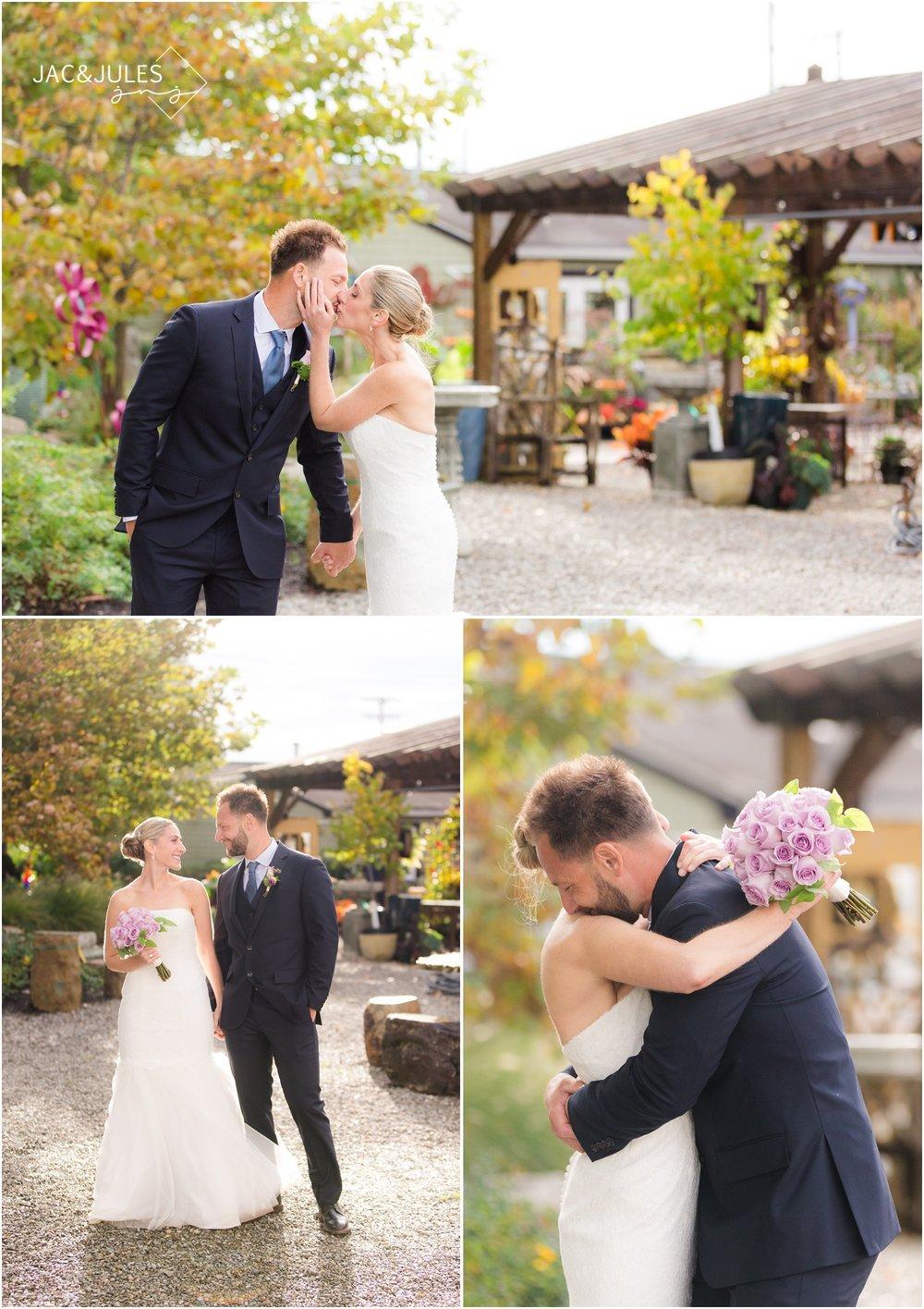 fun garden wedding photos of bride and groom in freehold, nj.