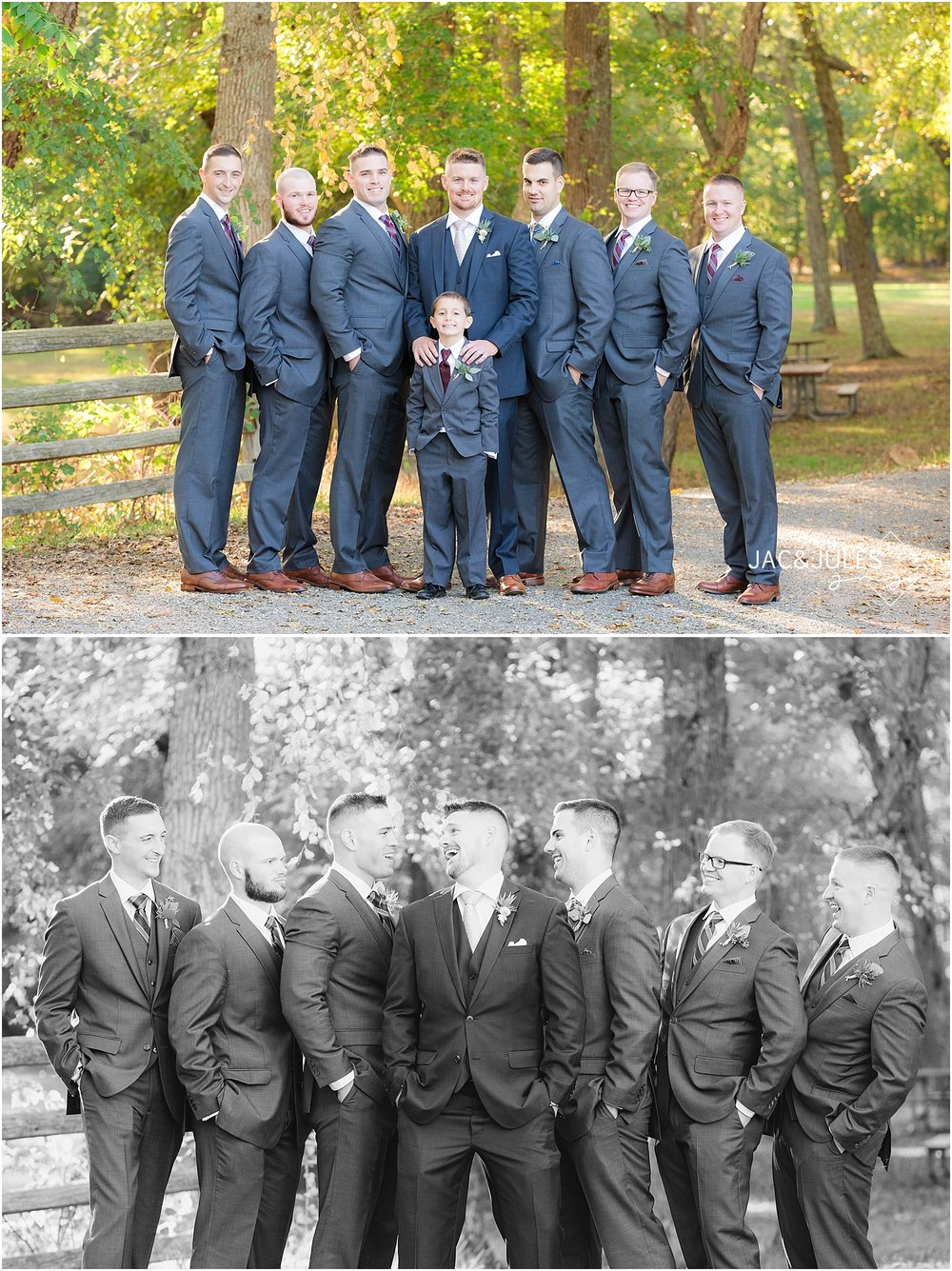 jacnjules photographs groom and groomsmen at Allaire State Park for a wedding