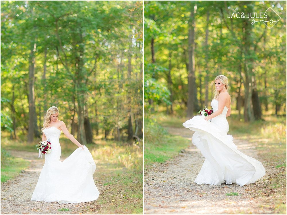 jacnjules uses natural light to photograph a bride at Allaire State Park, NJ