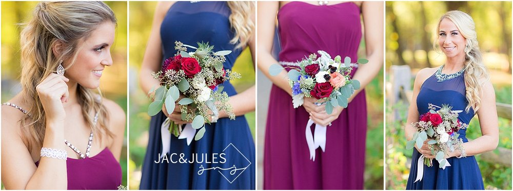 jacnjules photographs wedding bouquets at Allaire State Park NJ
