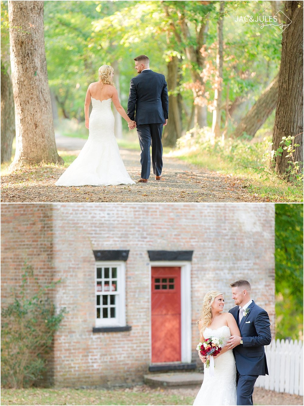 jacnjules photograph bride and groom for their wedding at Allaire State Park, NJ using natural light