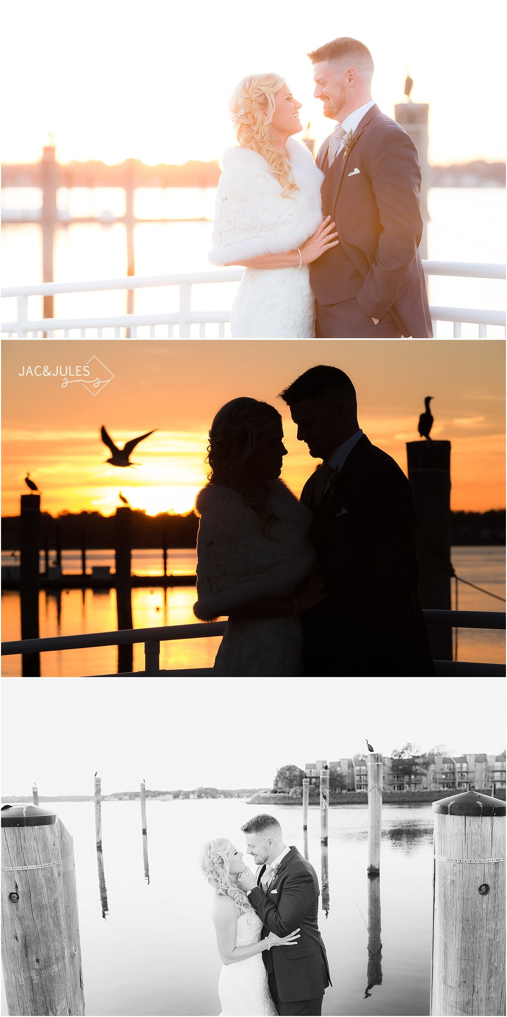 jacnjules photographs bride and groom at sunset at their wedding at Waterview Pavilion in Belmar, NJ