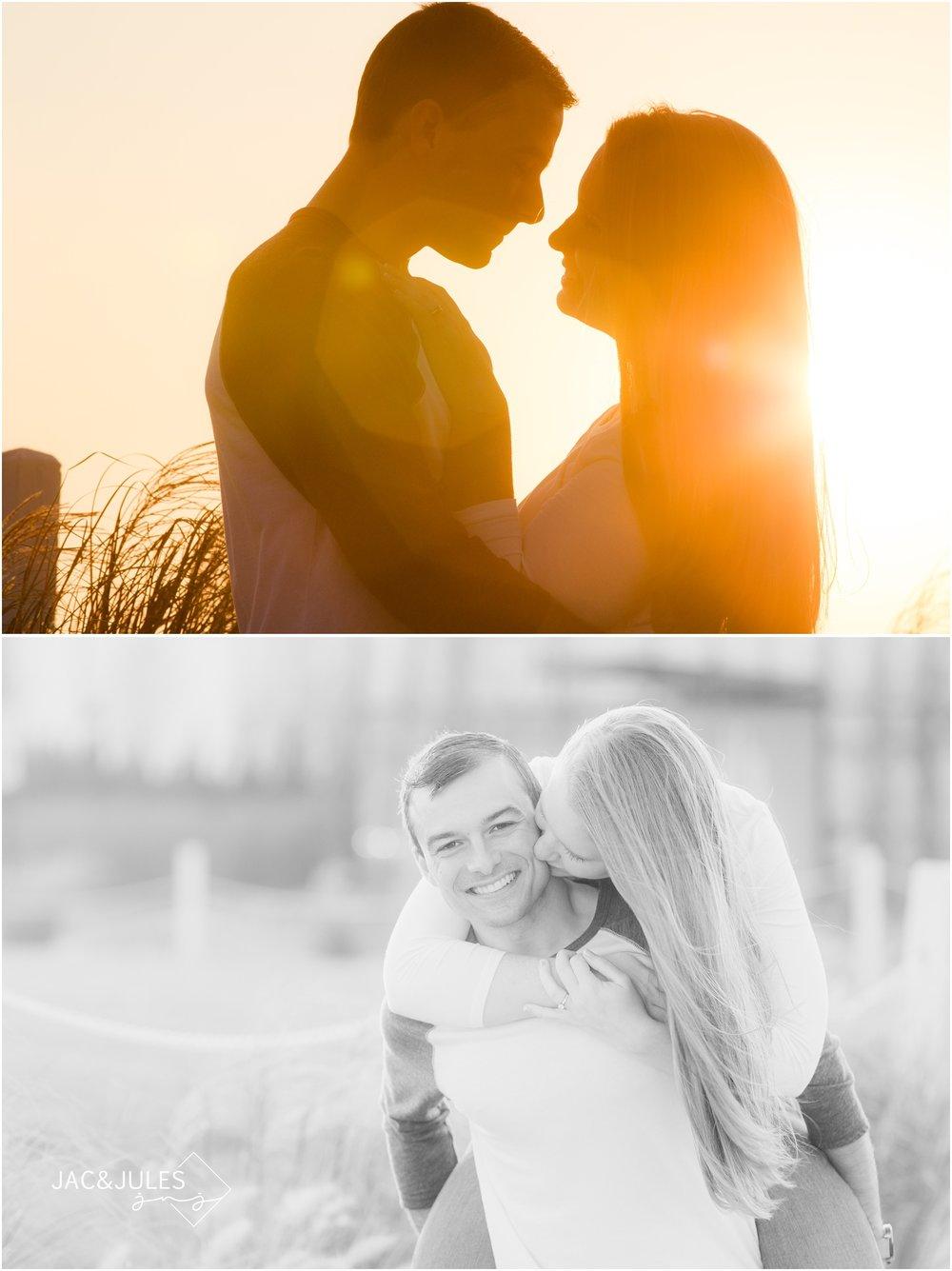 fun engagement photos near the Asbury Park Hotel