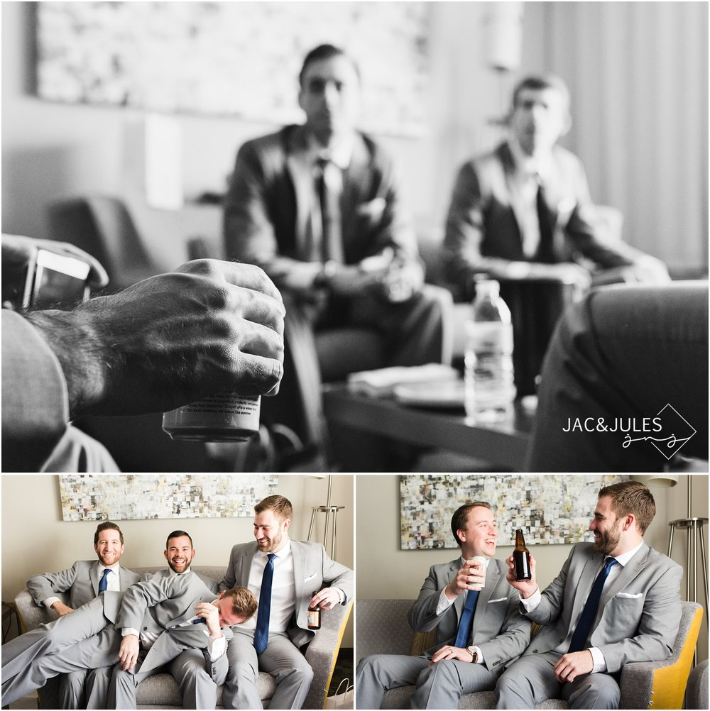 Groomsmen fun during prep at Courtyard Marriott in Wall, NJ
