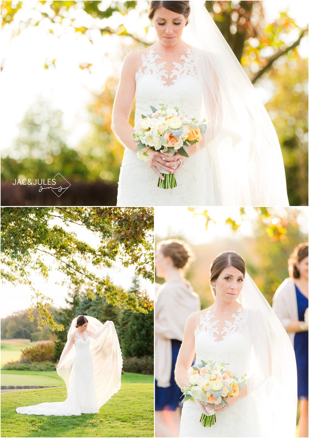 Bridal portraits at Eagle Oaks Golf and Country Club in Farmingdale, NJ.
