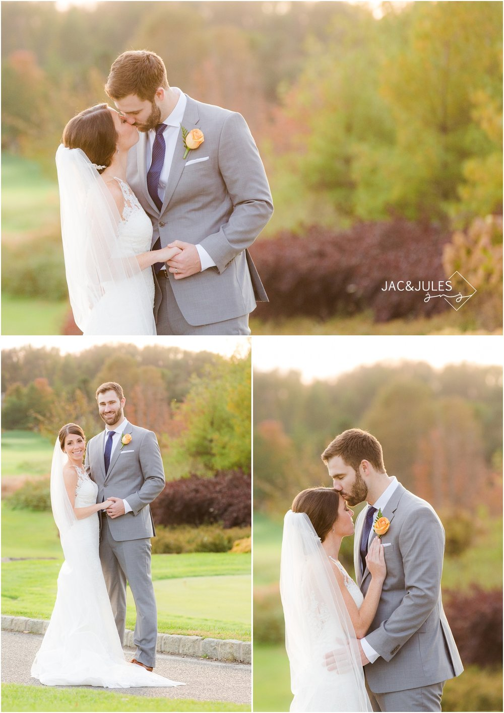 Bride and groom portraits in fall foliage at Eagle Oaks Golf and Country Club in Farmingdale, NJ.