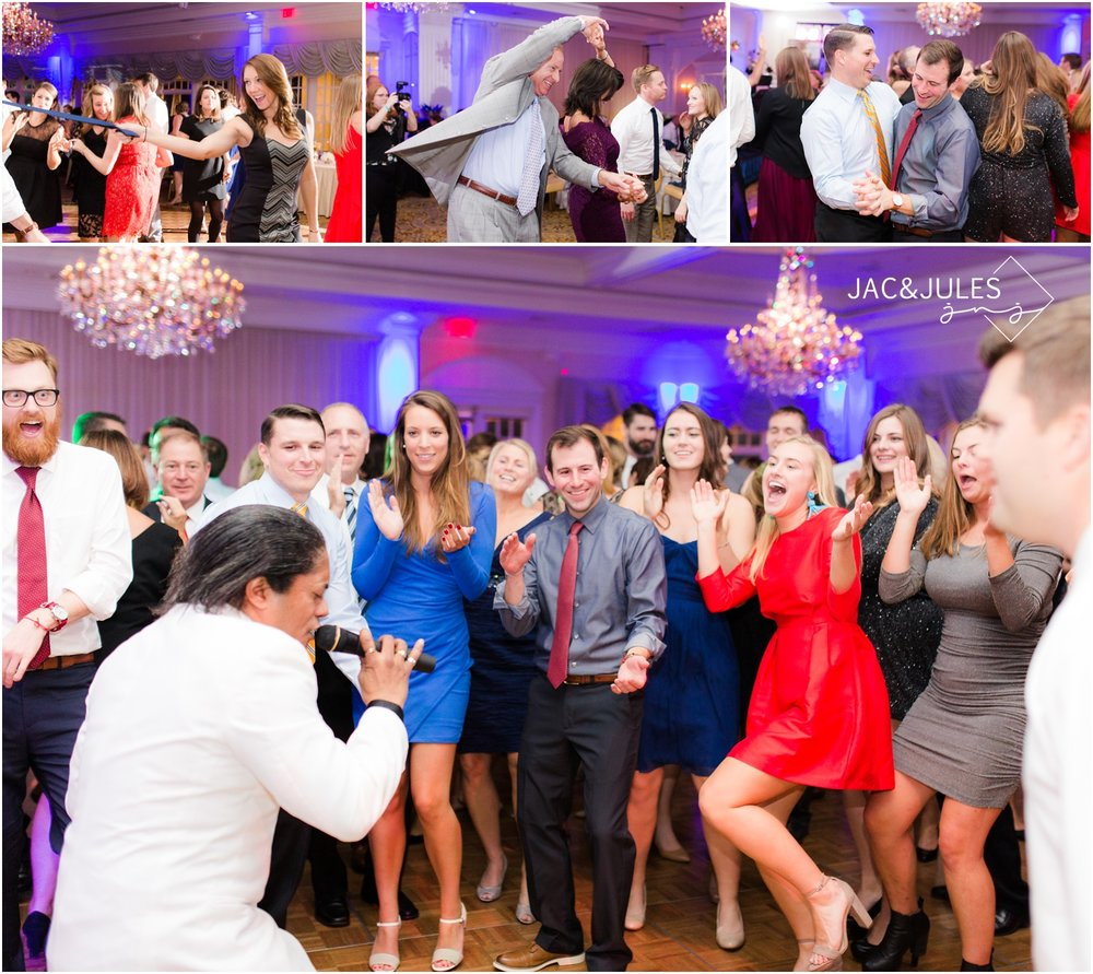 fun dancing wedding reception photos at Eagle Oaks Golf and Country Club in Farmingdale, NJ.