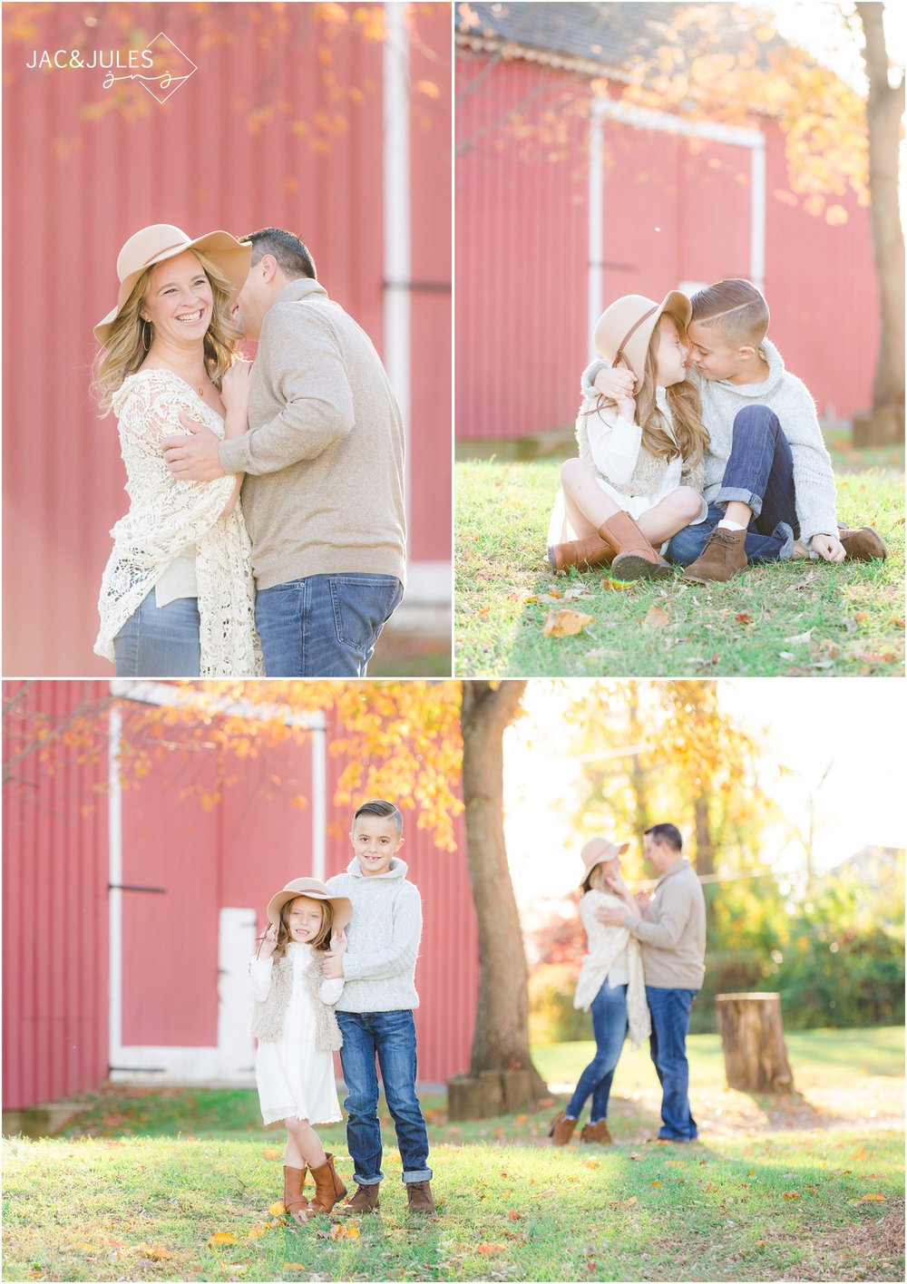 Creative Family photos with red barn at Bayonet Farm in Holmdel, NJ.