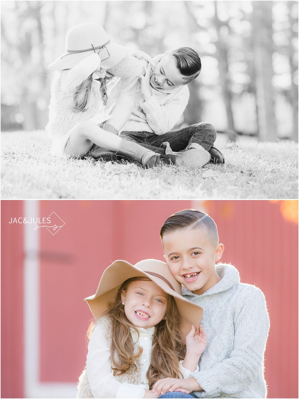 Fun sibling photos at Bayonet Farm in Holmdel, NJ.
