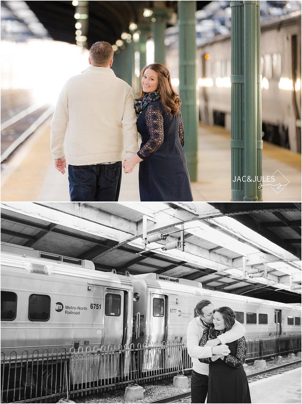 jacnjules photograph engagement photo at Hoboken train station in NJ