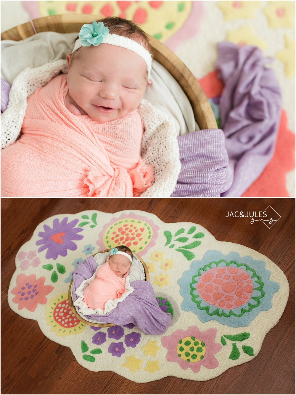 Colorful Newborn photo with Huge smile and dimple!