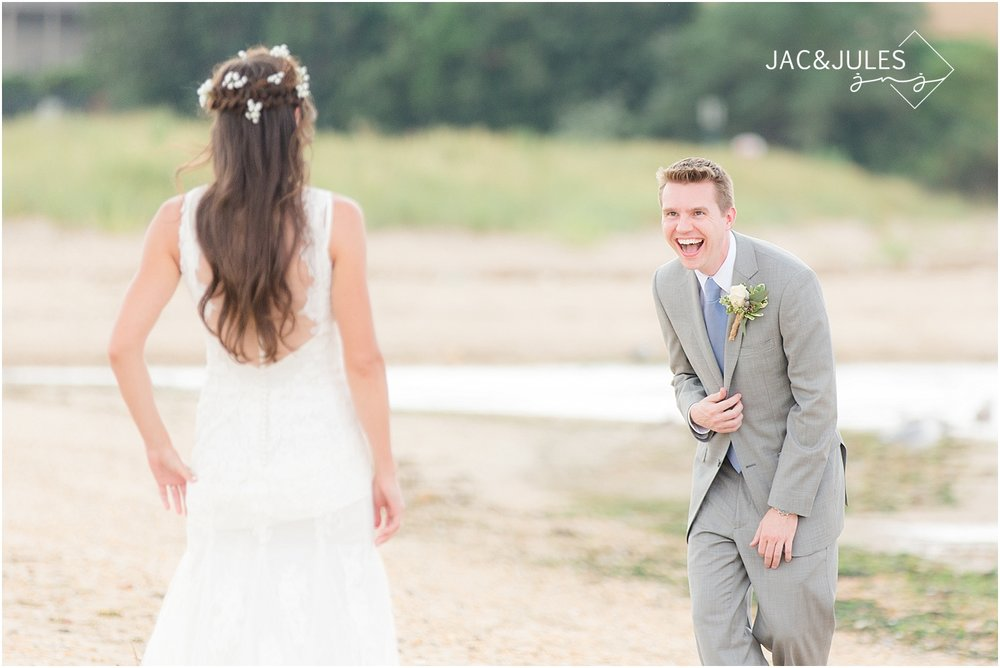 first look between bride and groom at bayonet farm in natural light