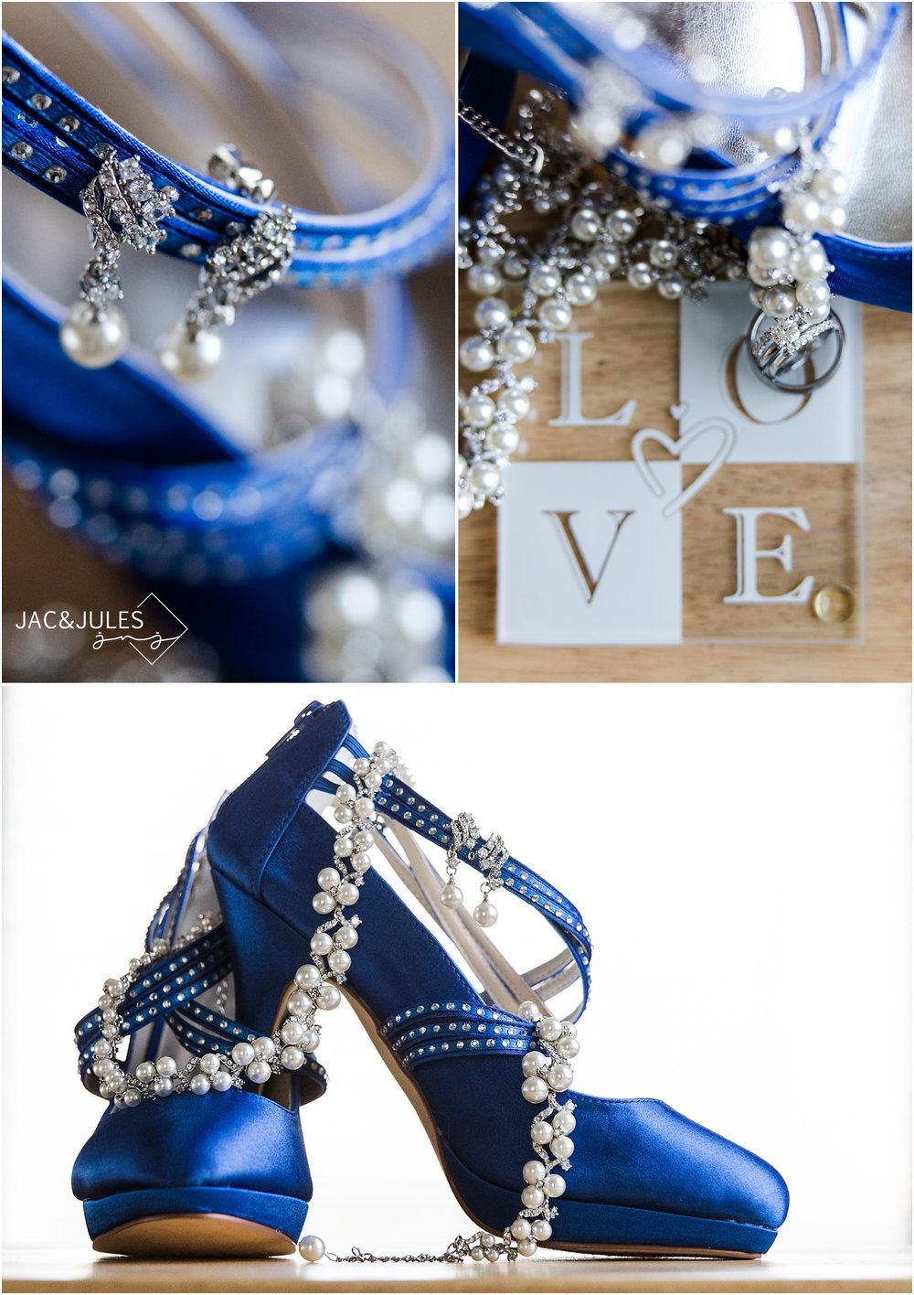 Pearl bridal jewelry on blue shoes.