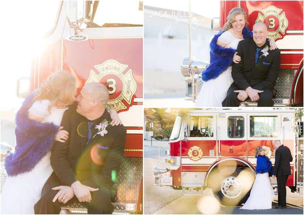 Sunny photos of bride and groom on fire truck.