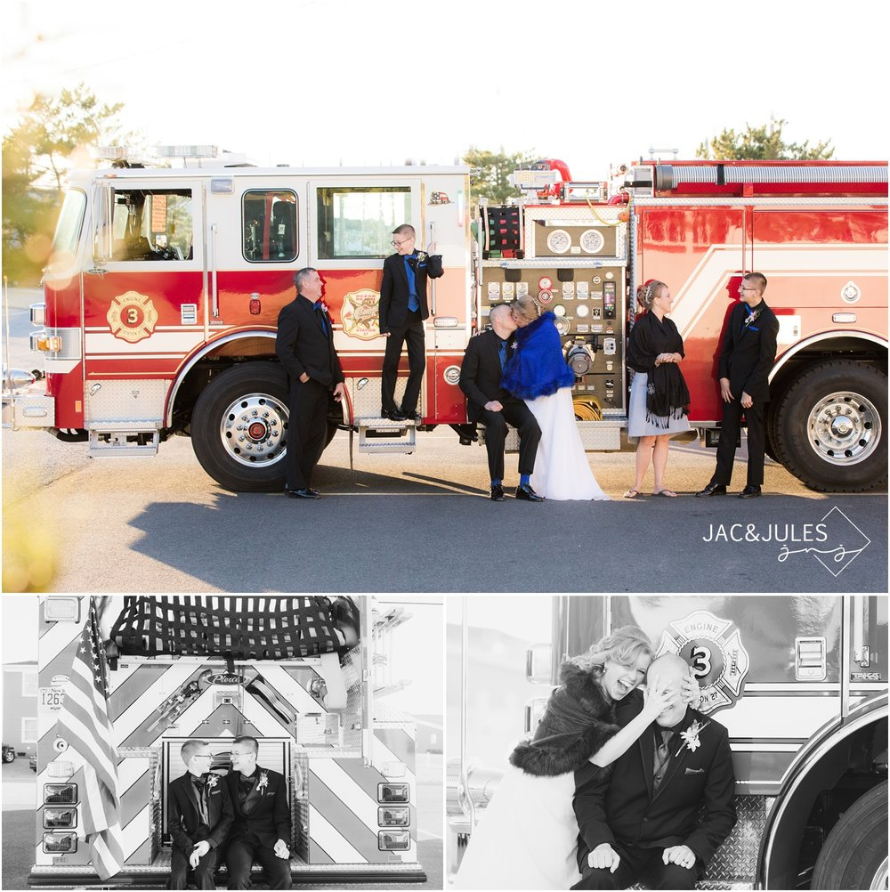 Bride and Firefighter groom with Fire Truck at Ocean Bay Fire Station in Lavallette, NJ.