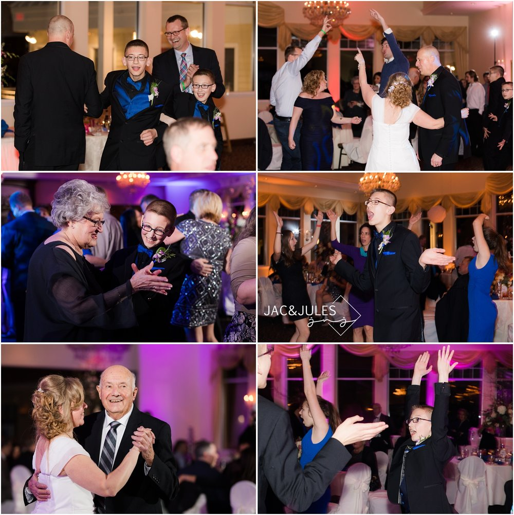 fun dancing photos at wedding reception in the ballroom at The Lobster Shanty in Point Pleasant, NJ.